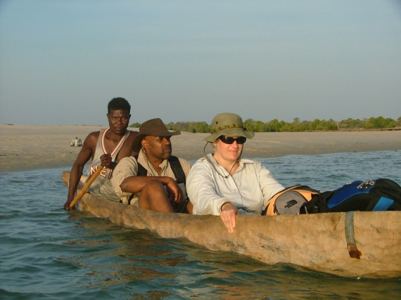 Earthwatch volunteers use a dugout canoe to access parts of remote Kirindy Mitea National Park, on Madagascar. The volunteers are helping Dr. Luke Dollar (Pfeiffer University), a 2007 National Geographic Emerging Explorer, research the ecology of endangered carnivores on the island